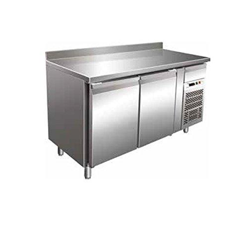 Tisch Gefrierschrank Gastronomie GN1/1belüftet mit Etagere 2Türen aus Edelstahl AISI 304Temp. - 18°/-22°C
