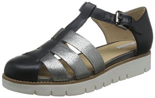 Geox Damen D Darline D Geschlossene Sandalen mit Keilabsatz, Schwarz (Black/DK GREYC0005), 39 EU