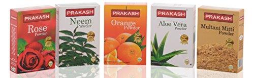 Prakash The Face Pack Combo, 500gm(Multani Mitti 100gm, Orange Powder 100gm, Neem Powder 100gm, Rose Powder 100gm, Aloe Vera Powder 100gm)