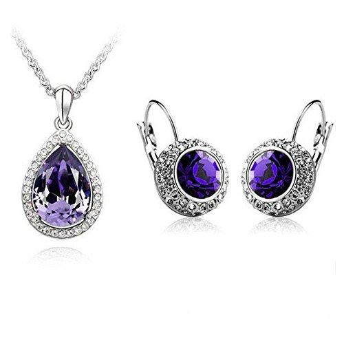 Parure goutte cristal swarovski elements plaqué or blanc Violet