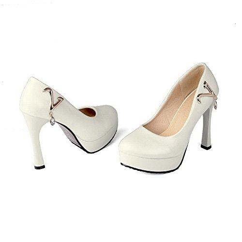 AllhqFashion Damen Ziehen Auf Stiletto Pu Leder Rein Rund Zehe Pumps Schuhe Cremefarben