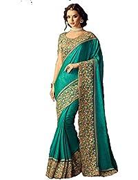 Sunshine Fashion Green Color Bhagalpuri Silk & Raw Silk Fabric Embroidery Work Saree ( New Arrival Latest Best...