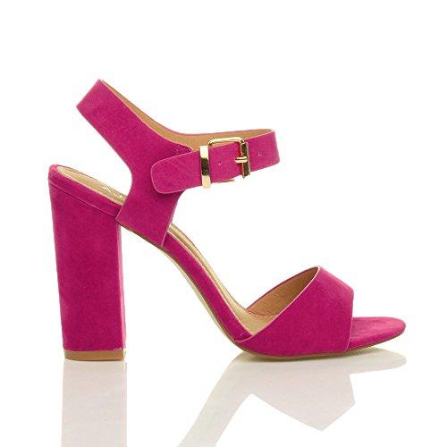 Donna tacco alto fibbia casual con cinturino alla caviglia sandali scarpe numero Rosa Fucsia Scamosciata