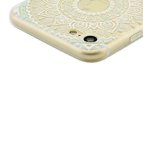 iPhone 8 / 7 Hülle, Fraelc Crystal Transparent Handyhülle TPU Bumper Case Ultra Dünn Silikon Schutzhülle mit Indische Sonne Design Brieftasche für Apple iPhone 7 (2016) / iPhone 8 (2017) in Rosa Bunt