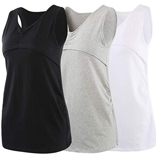 ZUMIY Still-Shirt Still-Top, Mutterschaft Shirt Stillen Top- Double Layered Geraffte Kleidung, Nursing Tank top (L, Black+Grey+White/3-pk) -