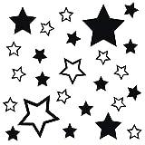 kleb-drauf® | 25 Sterne | Schwarz - glänzend | Autoaufkleber Autosticker Decal Aufkleber Sticker | Auto Car Motorrad Fahrrad Roller Bike | Deko Tuning Stickerbomb Styling Wrapping