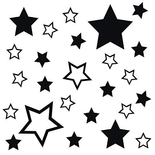 Fenster-schwarz-glas-tür (kleb-Drauf®   25 Sterne   Schwarz - glänzend   Wandtattoo Wandaufkleber Wandsticker Aufkleber Sticker   Wohnzimmer Schlafzimmer Kinderzimmer Küche Bad   Deko Wände Glas Fenster Tür Fliese)