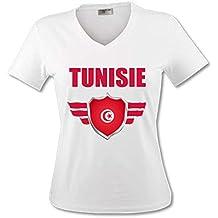 8295a32d88d8b yonacrea Shirt Col V Adulte - Tunisie - Coupe du Monde de Football 2018 -  Prénom