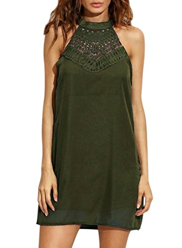 ACHICGIRL Women's Halter off Shoulder Sleeveless Solid Chiffon Dress Green