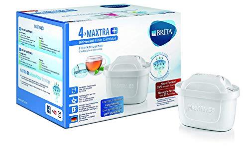 BRITA MAXTRA+ - 4 filtros para el agua - Cartuchos de filtrado para el agua - Recambios compatibles con jarras BRITA que reducen la cal y el cloro
