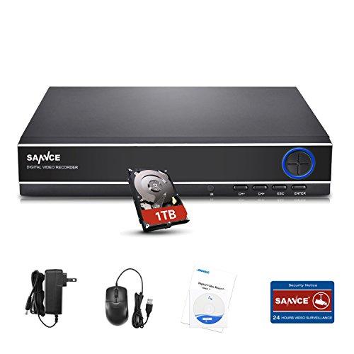 SANNCE DVR Recorder 4CH 1080N 720P HD 4-in-1 TVI/AHD/CVI/Analog DVR Videorecorder Netzwerk Digital Video Recorder mit 1TB Festplatte, HDMI VGA Ausgang H.264 CCTV Sicherheit Videoüberwachung