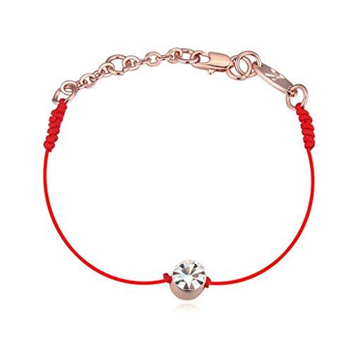 Adisaer Rose Vergoldet Damens Fußkettchen Rot Seil Cubic Zirconia Einstellbar Armband Fuß Schmuck