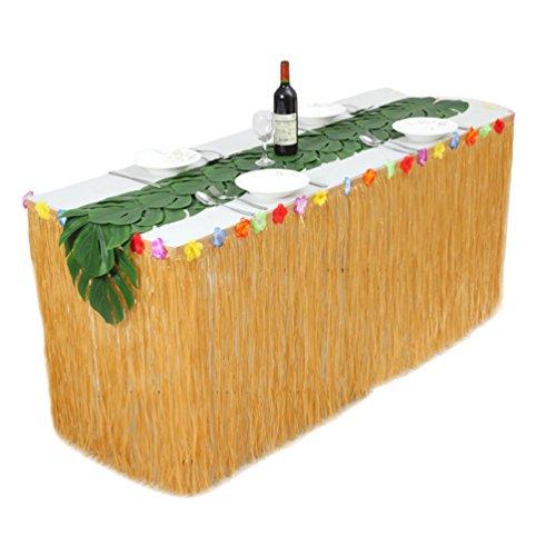 Ketamyy Hawaiischer Grasrock Picknick Kunststoff Tisch Rock Weinlese Party Dekoration 12 Tabletten Schildkrötenblatt Mit Klettverschluss Stellen Sie EIN 1# Strohfarbe 275cm*75cm (Weinlese-hochzeits-kuchen-dekoration)