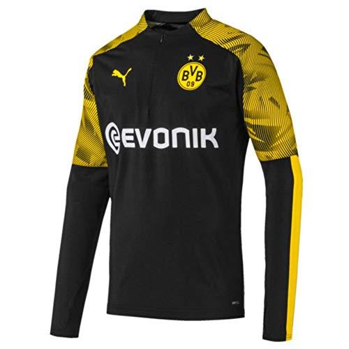 PUMA Herren BVB 1/4 Zip Training Top with Evonik Logo Pullover, Black/Cyber Yellow, XL 1/4 Zip Pullover Top