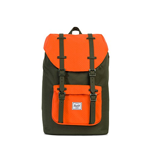 THE HERSCHEL SUPPLY CO. BRAND - LITTLE AMERICA MID CLASSICS BACKPACK FOREST NIGHT/VERMIL