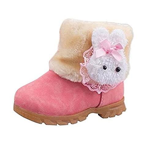 Arrowhunt Baby Girls Winter Fur Shoes Kids Rabbit Warm Snow Boots Pink, Size Tag 26/7.0 UK