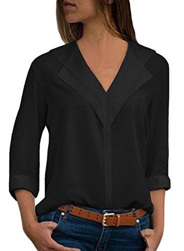 6074055fe4ef Aleumdr Blusen Damen Damenblusen Damentops V-Ausschnitt Elegant Bluse  langärmelige Damen mit Knopfleiste Oberteile Langarm Schwarz XL