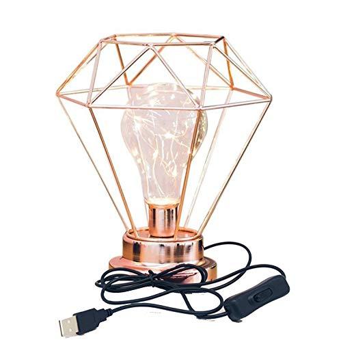 Lampe de table décorative,SUAVER Alimenté par USB Lampe de Chevet Nordique de Lampe de Nuit Diamond Shape Lampe de bureau de Fer,Rétro Atmosphère Lampe pour la Chambre,Le Salon,cadeau (Or Rose)