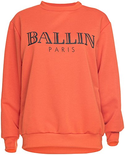 Damen Sweater Sweatshirt Pullover Pulli Ballin Paris Logo-Print Orange