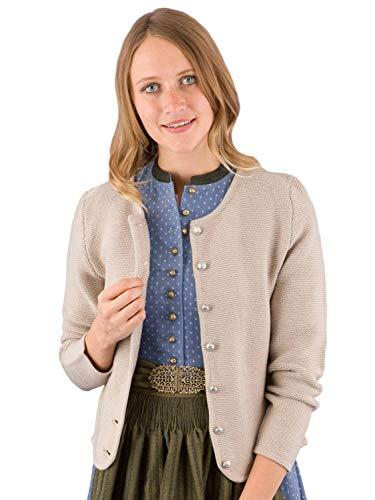 Trachtenjacke Damen Strickjacke Lina Alpspur Tracht Jacke zum Dirndl beige 40