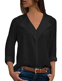 Aleumdr Bluse Damen v Ausschnitt Langarm Top Loser T-Shirt Tunika Bluse Einfarbig Frauen Hemdbluse Casual Lange Ärmel mit Knopfleiste Schwarz S