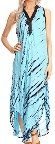 Sakkas 17713 - Olivia leichte ärmellose Krawatte Dye Kleid mit Mandarin Kragen - blau/Turq - OS - Mandarin Kragen Ärmellos
