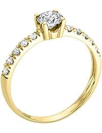 14K Gold / Yellow Round Cut Diamond Simulated Swarovski Pure Brilliance Zirconia Engagement Ring (0.56 cttw)