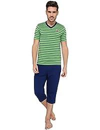 Nightwear For Men - Night Suit - Tshirt & Capri Combo Set - Sinker Material - Green Color - Half Sleeves - Branded... - B078Y3MBTC