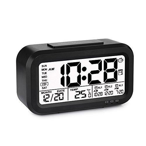 Despertador Reloj de Alarma Digital Programable Se Carga por USB 3 Alarmas Pantalla con Retroiluminación Inteligente Calendario Tamaño Pequeño Ideal para Viaje Hijos-Negro