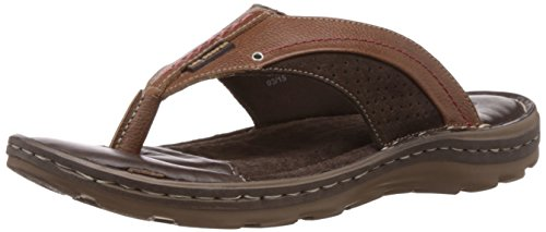 Lee Cooper Men's Brown Leather Flip Flops Thong Sandals - 9 UK