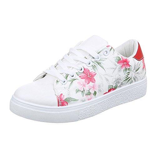 Ital-Design , Chaussures pour les loisirs  femme Blanc - Weiß Rosa