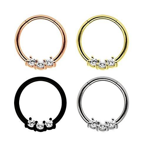 Piercing Ring Smooth Segment Clicker mit Stein in 1,2 mm Stärke