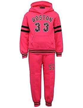 ragazze TUTA BAMBINI MAGLIA CON CAPPUCCIO BOSTON stampa pantaloni pantaloni FODERA PILE NUOVO
