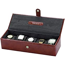 Mele and Co Men's Raffles Liam Brown 5 Watch Display Box Case