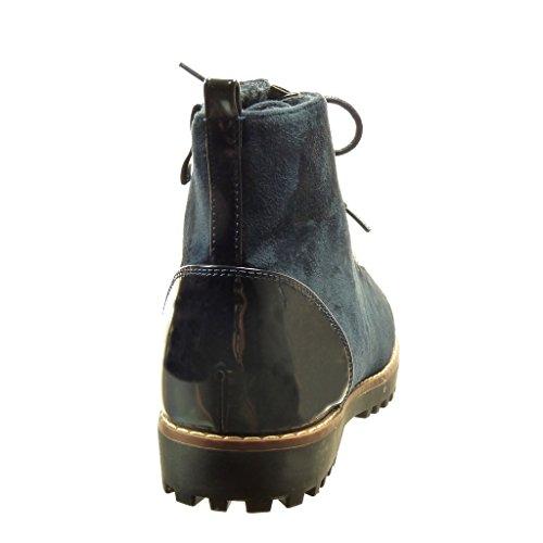 Angkorly - Chaussures Mode Bottines Bi-matière Rangers Bi-matière Femme Chaine Peinte Bloc Talon 2.5 Cm Bleu