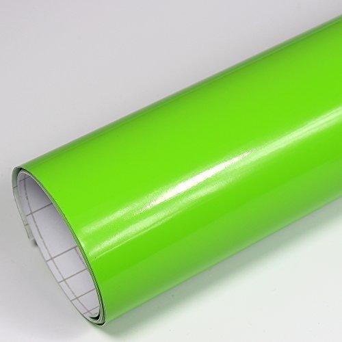 Rapid Teck® 5,26€/m² Premium - Glanz Grün 50cm x 1,52m Auto Folie Blasenfrei mit Luftkanälen für Auto Folierung und 3D bekleben in Matt Glanz und Carbon Autofolie