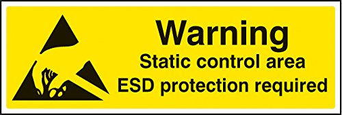 Caledonia Signs 24465G Warning Static Control Area ESD Protection Required Sign, Self Adhesive Vinyl, 300 mm x 100 mm