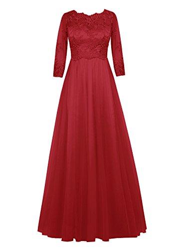 Dresstells, robe longue de mère de mariée, robe de soirée formelle manches 3/4, robe de demoiselle d'honneur Rouge Foncé