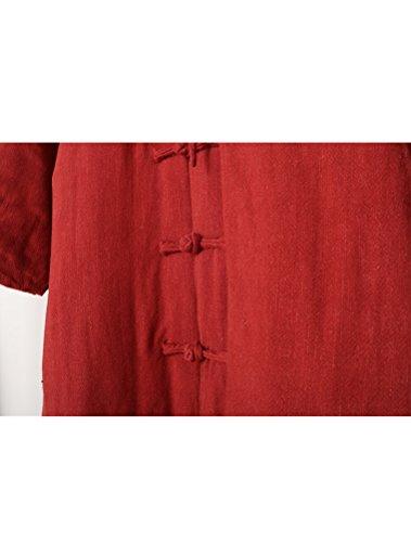 MatchLife Unisexe Nouveau Col Montant LinenLongues Manteaux Style2 Rouge sombre