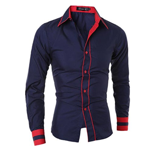 SHUNLIU Hemd Herren Business Freizeit Langarmhemd Schlanke Langarmhemd Blau