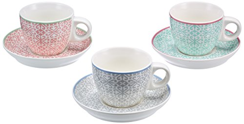 Versa Set de Tasses avec soucoupes expresso, Porcelaine, Rose, gris et vert, 100 ml, Lot de 6