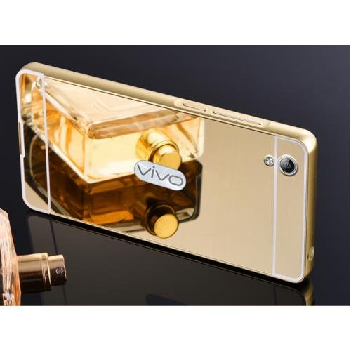 D-kandy Aluminum Metal Bumper with PC Mirror Back Cover Case For Vivo Y51 / Y51L (Gold)