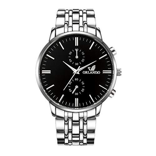 Neu Armbanduhr FGHYH Männer Männer Armbanduhren Luxus Herren Quarz Uhren Männer Business Männliche Uhr Herrenuhr Uhr Armbanduhr(Silber)