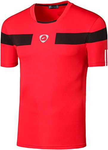 Jeansian Uomo Asciugatura Rapida Sportivo Casuale Slim Sports Fashion Tee T-Shirts Camicie LSL120 Red