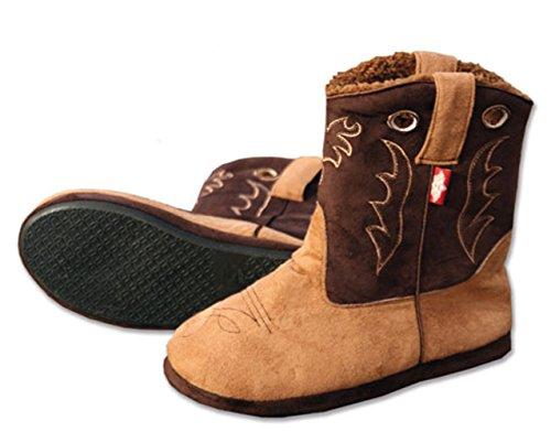 STARS & STRIPES Fluffy Herren Hausschuhe wie Cowboystiefel und Westernstiefel - Cowboy Boot Slippers Cowboy Hausschuhe Plüshhausschuhe (Medium) Braun (Cowboys-star)