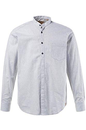 JP 1880 Herren Große Größen bis 7XL | Hemd in Vier Farben | Leinen-Baumwoll Mischung | Modern Fit | Stehkragen & Brusttasche | Grau 7XL 708636 12-7XL (Weiße Baumwoll-mischung)