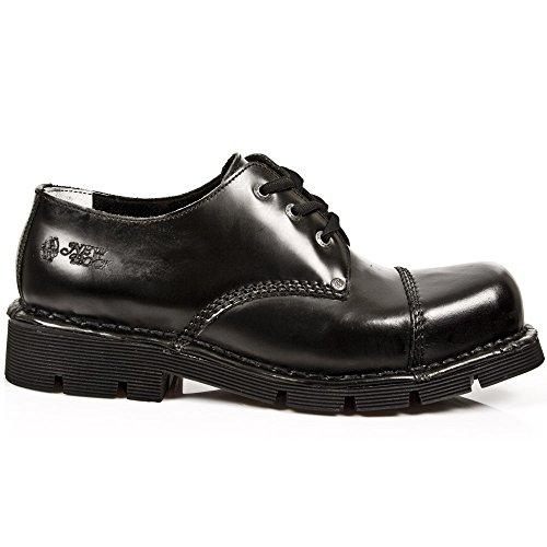 New Rock M.NEWMILI03-S1 Zapatos Unisex Hombre Mujer Negro Cuero Piel Tacón Gotico Heavy Punk Militares