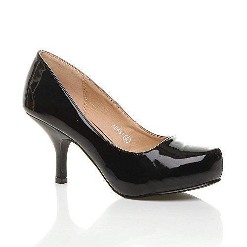 shoeFashionista Ladies Platform Work Pumps Low Mid Heels Stiletto Court Shoes Size  2273T2KVF