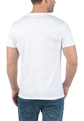 Blend Flix Herren T-Shirt Kurzarm Shirt Rundhalsausschnitt Brusttasche Aus 100% Baumwolle White (70002)