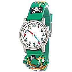Pure time pirate wristwatch children watch children young girl silicone bracelet watch in Green incl. watch box